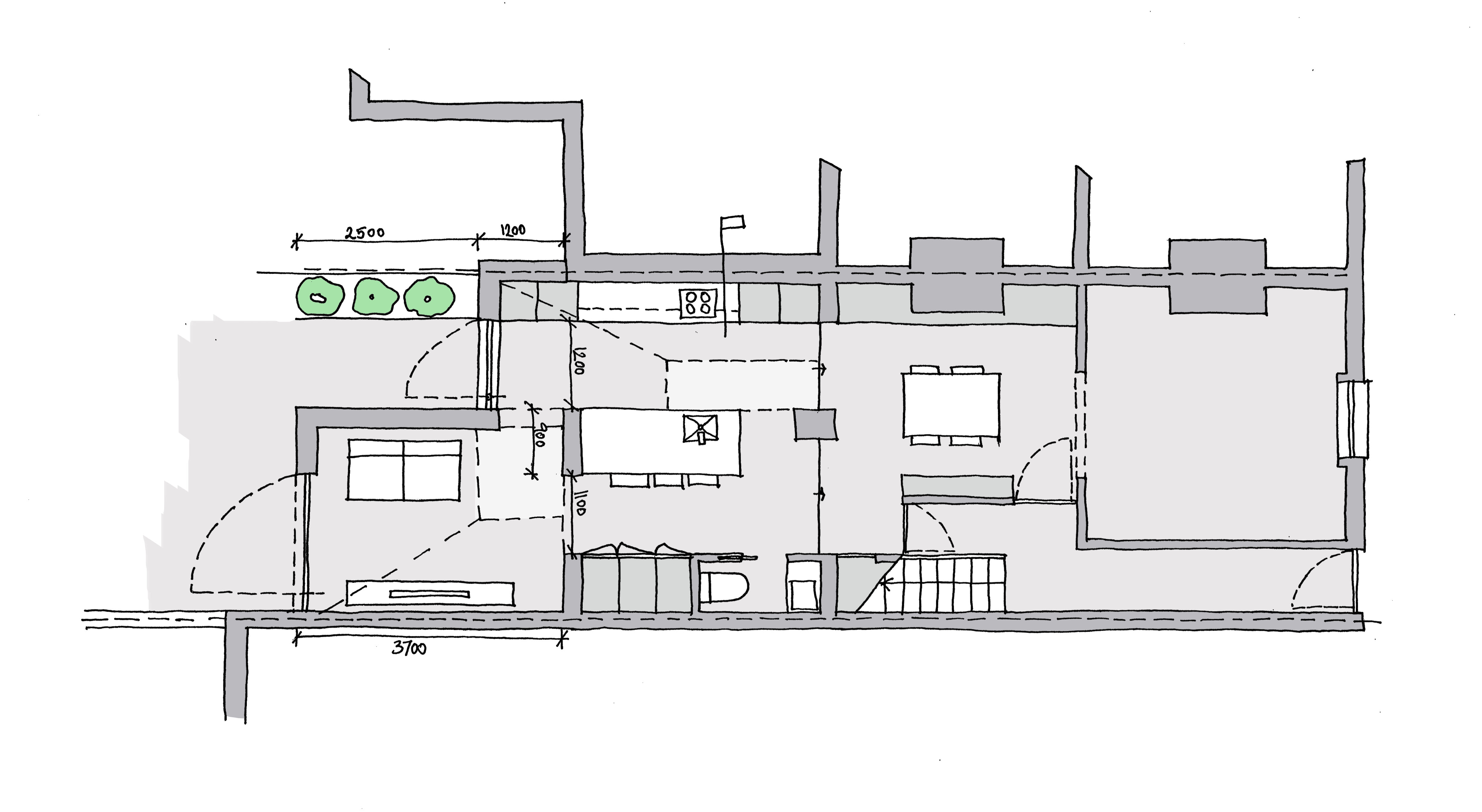 Plan showing the two sloped roof forms creating a stepped rear extension in Stoke Newington.