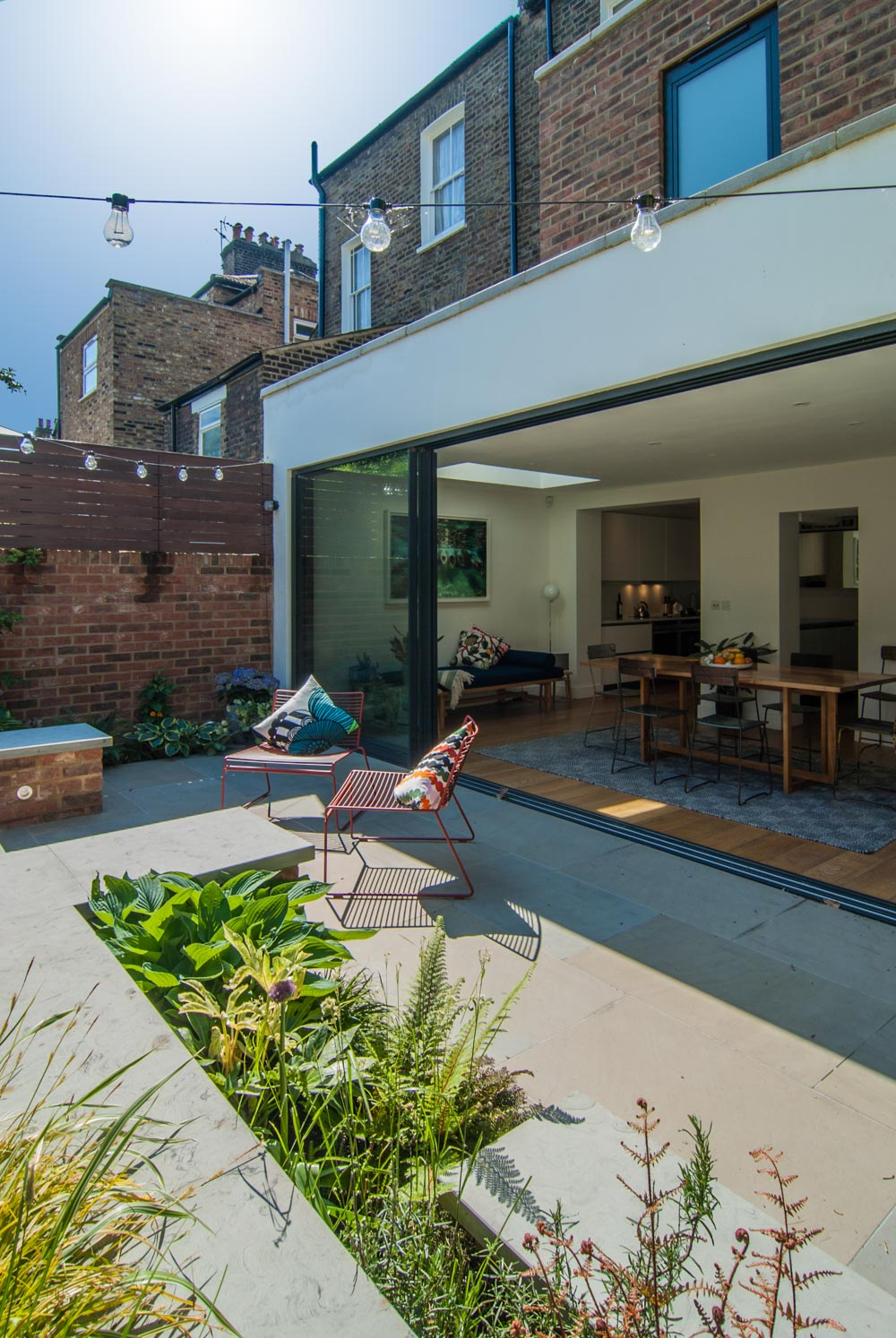 Improved access from dining area to Yorskhire stone patio and garden.