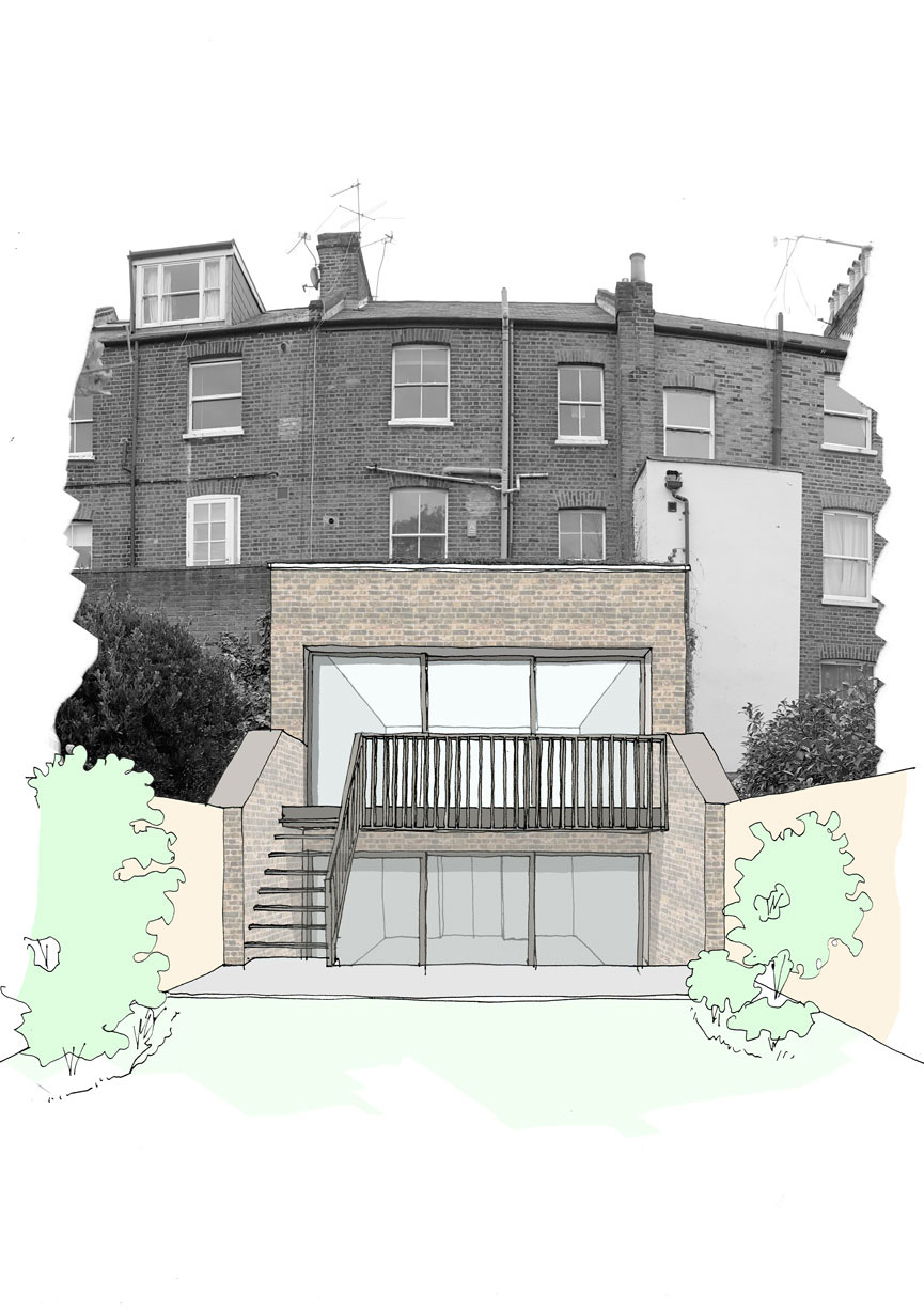 Double storey rear extension serves the purpose of a workshop and and studio and a staircase leading to an external kitchen court.