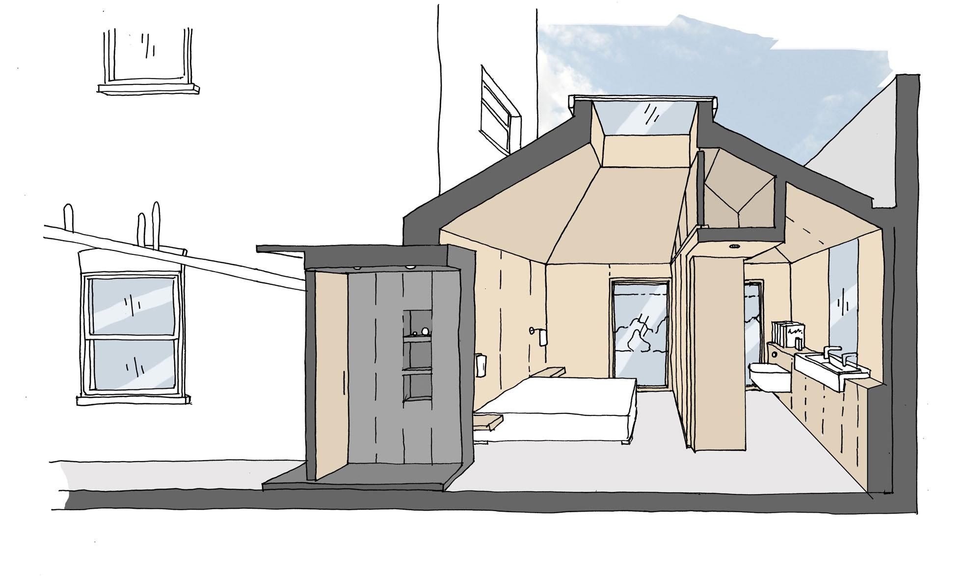 Self contained garden bedroom extension including a vaulted ziggurat roof form.
