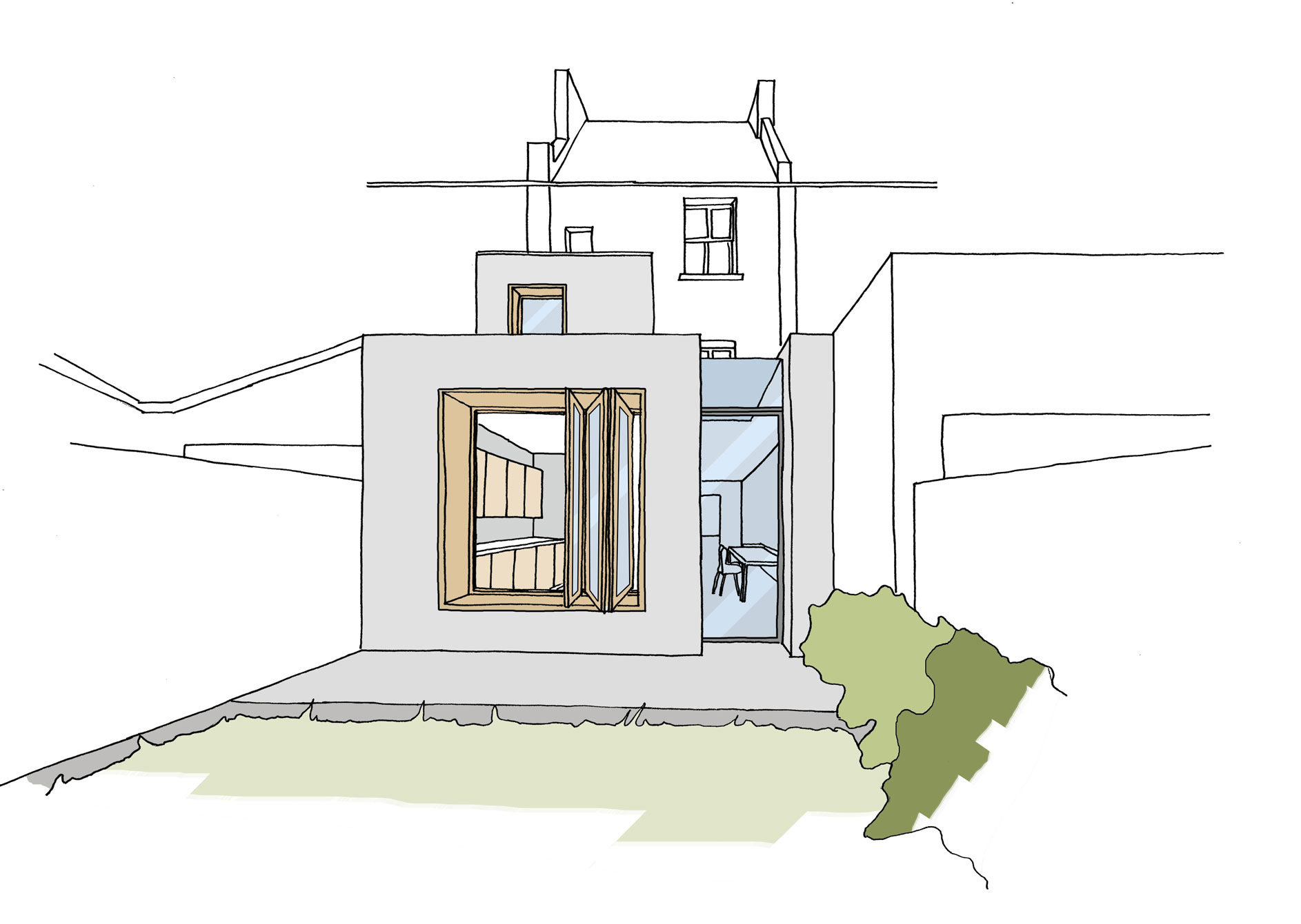 Light filled rear extension includes extensive brickwork on both the internal and external parts of the extension.