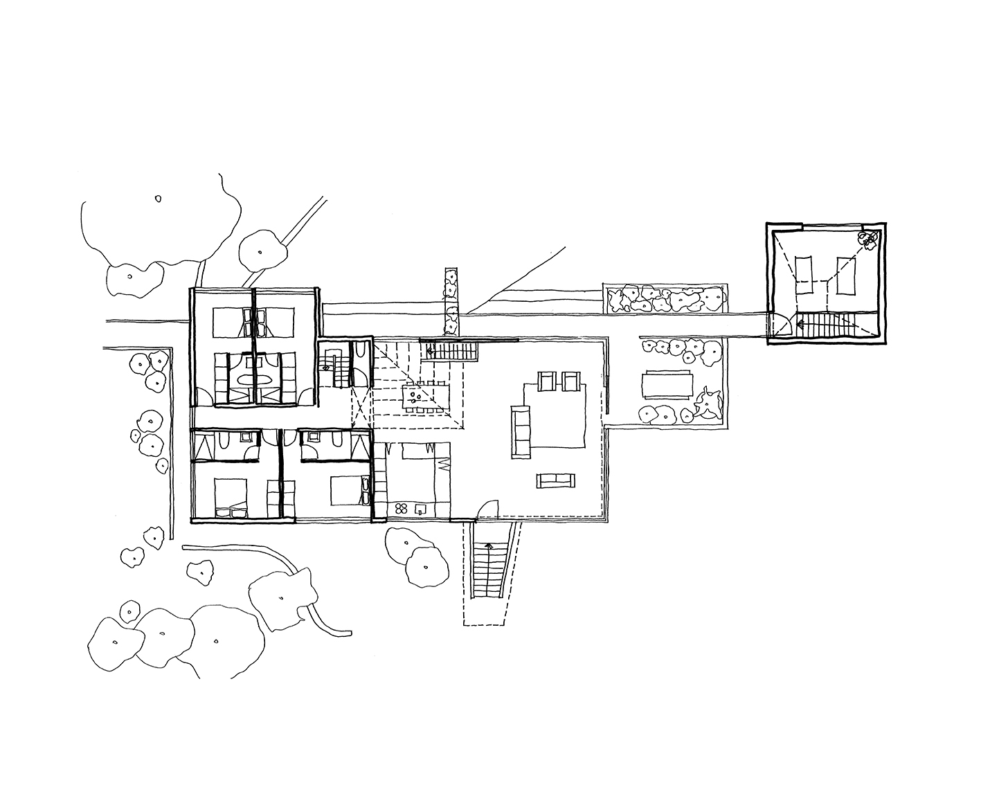 Plan of a yoga and music studio space connected to a 1960s house in the beautiful woodlands in Bromley.