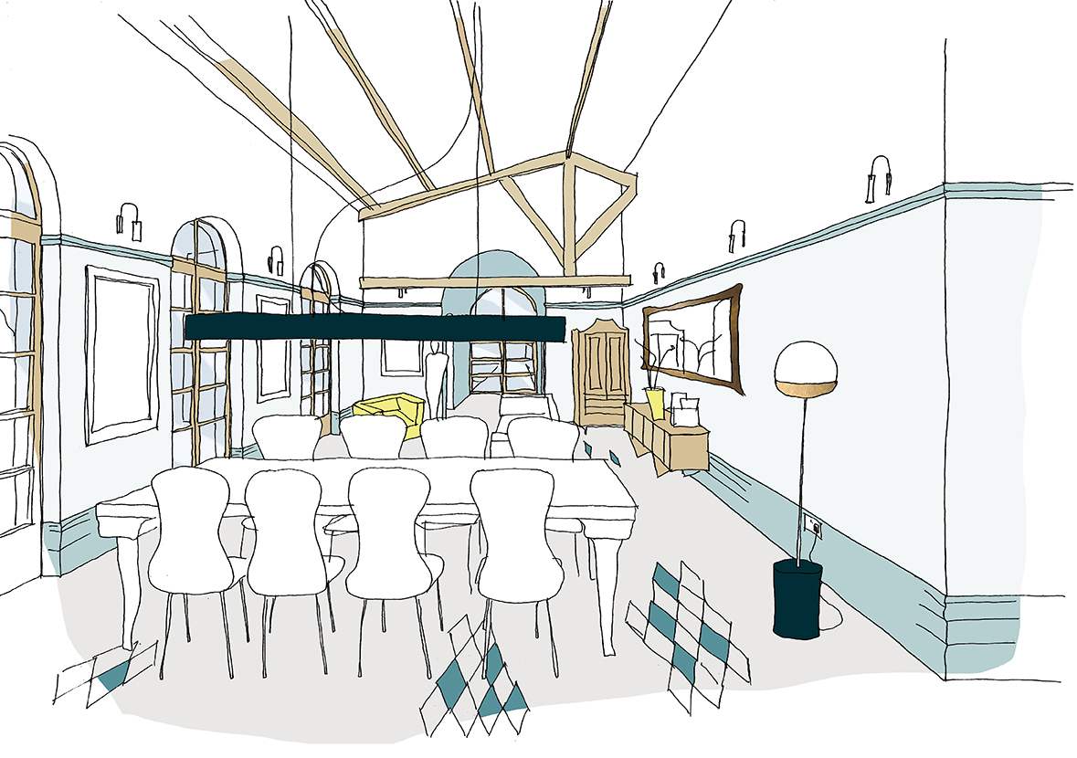 Interior visualisation of the dining space including classic arch windows and retention of the beautiful dated beams.