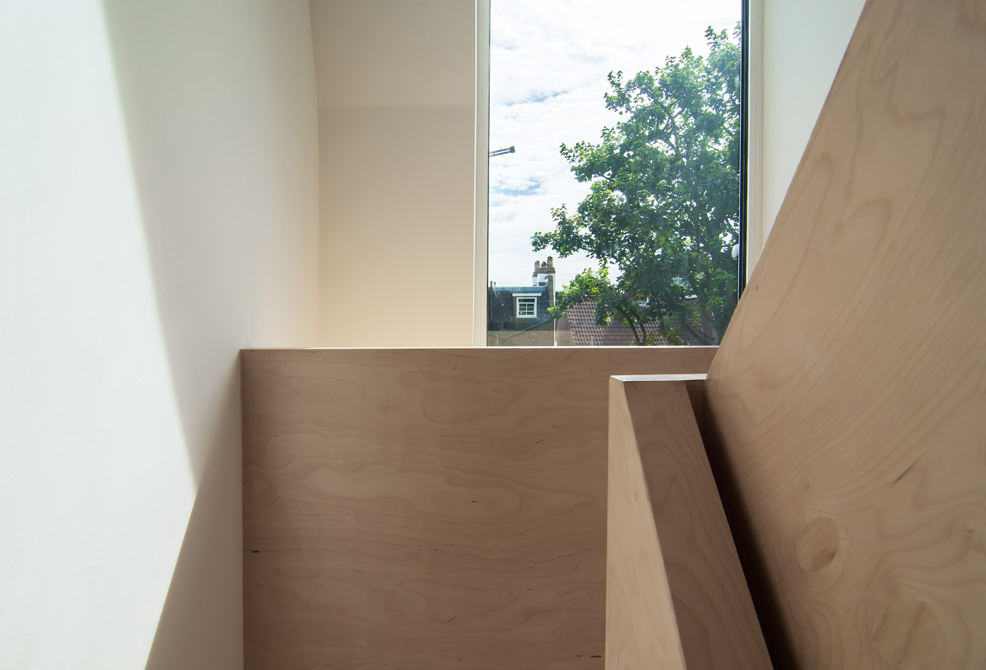 Close up of the plywood balustrade in the converted loft in Stoke Newington.