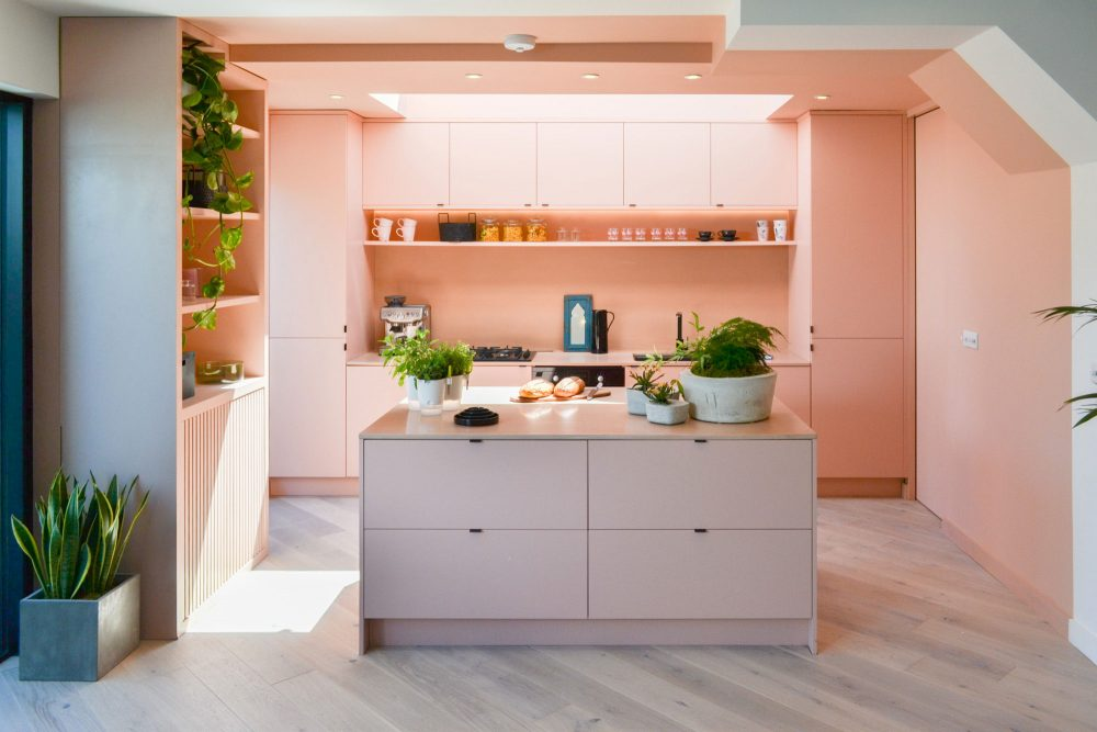 Love Your Home and Garden- New spacious pastel pink kitchen extension presented on Love Your Home and Garden ITV.