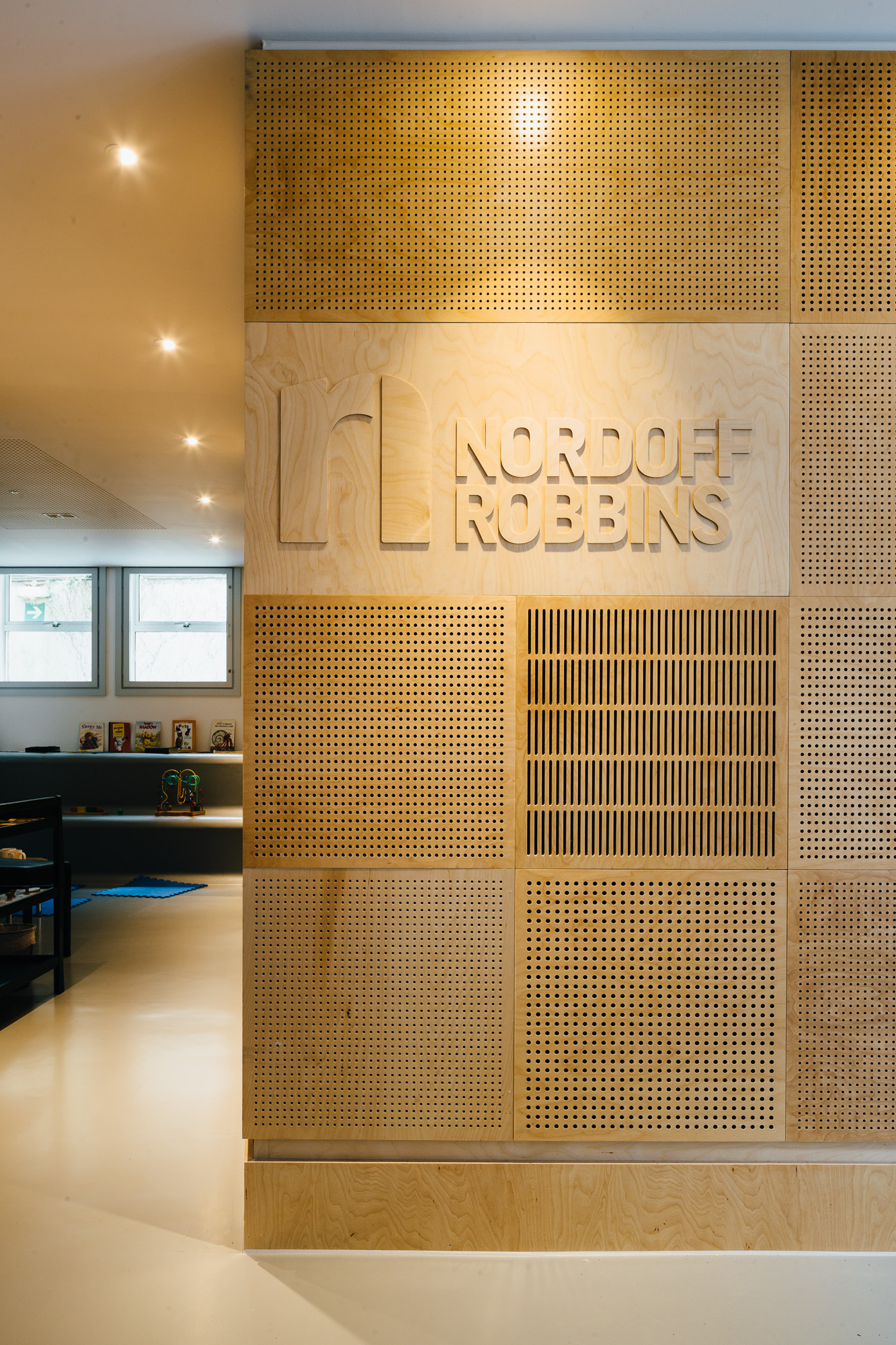 Perforated ply acoustic panels in the Nordoff Robbins Music Therapy Centre.
