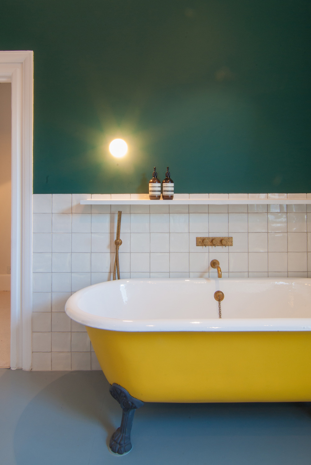 Leytonstone-Renovation-Teal-Bathroom-Yellow-Bath-Brass-Refurbishment