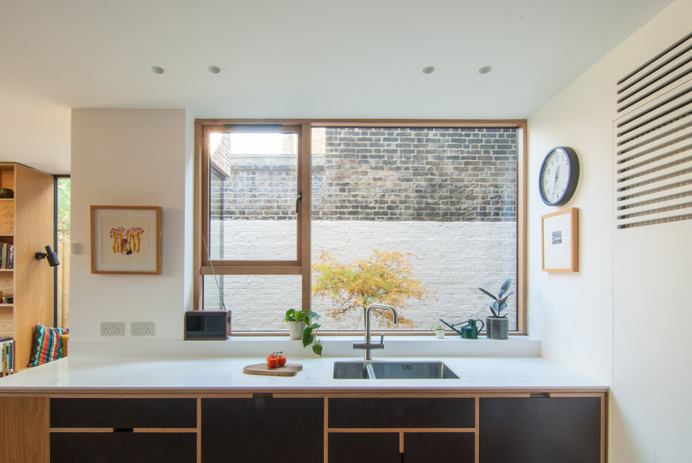 Oak-Kitchen-Window-Bespoke-Kitchen-Plywood-Leytonstone-Extension-Refurbishment
