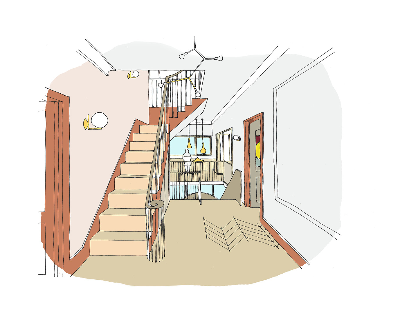 Full refurbishment including a new curved staircase which follows the three floors within the double dwelling house.