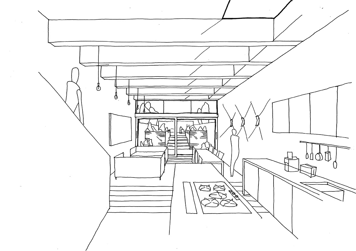 Proposal for a basement kitchen and living space including concrete fins which filter daylight into the space.