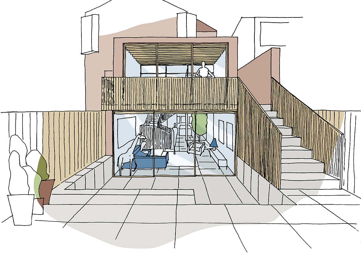 Sunken courtyard to basement level to provide more sunlight into the central part of the large house.