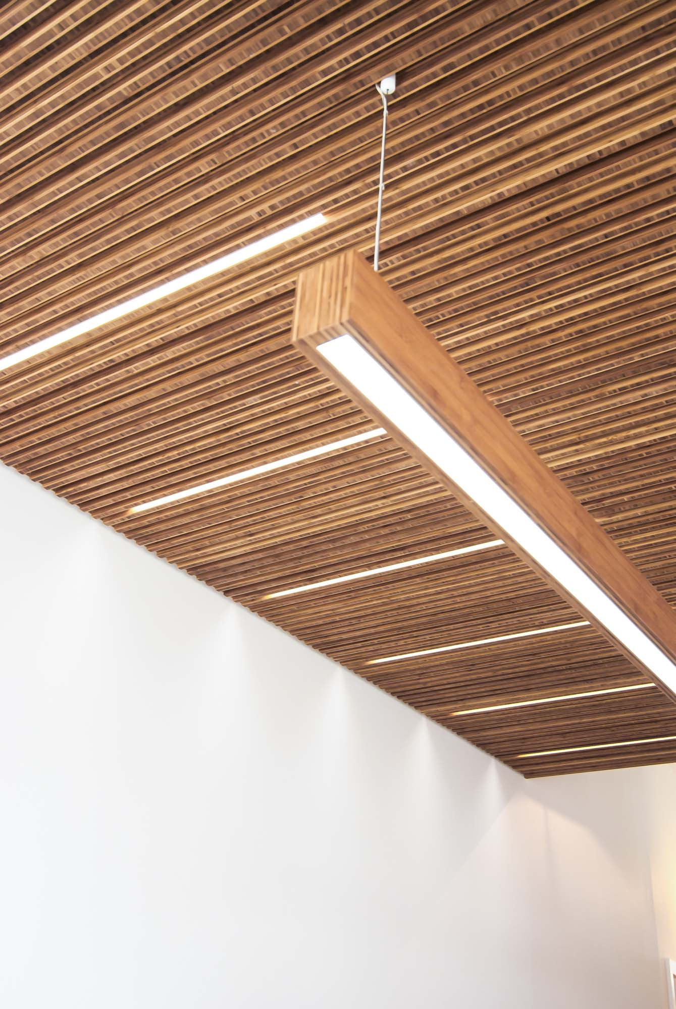 A close up of the Bamboo Plyboo joinery along LED light strips incorporated in the ceiling.