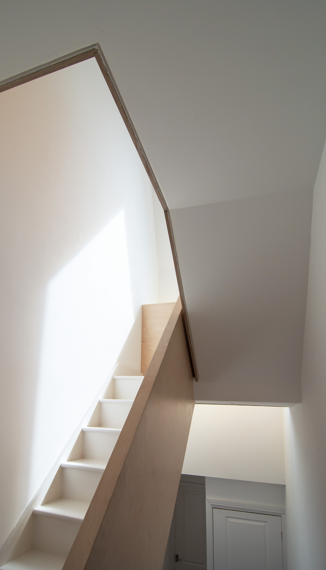 The contrast of the plywood balustrade and white staircase and walls.