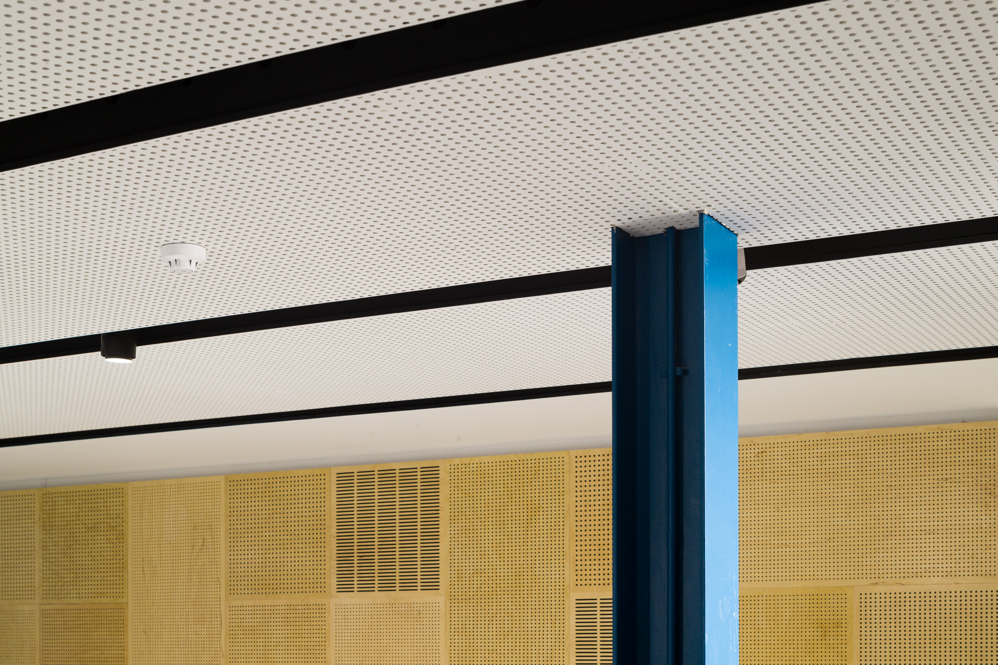 Close up of the perforated ceiling and coloured columns with the plywood perforated panels in the background of the Nordoff Robbins Music Therapy Centre.