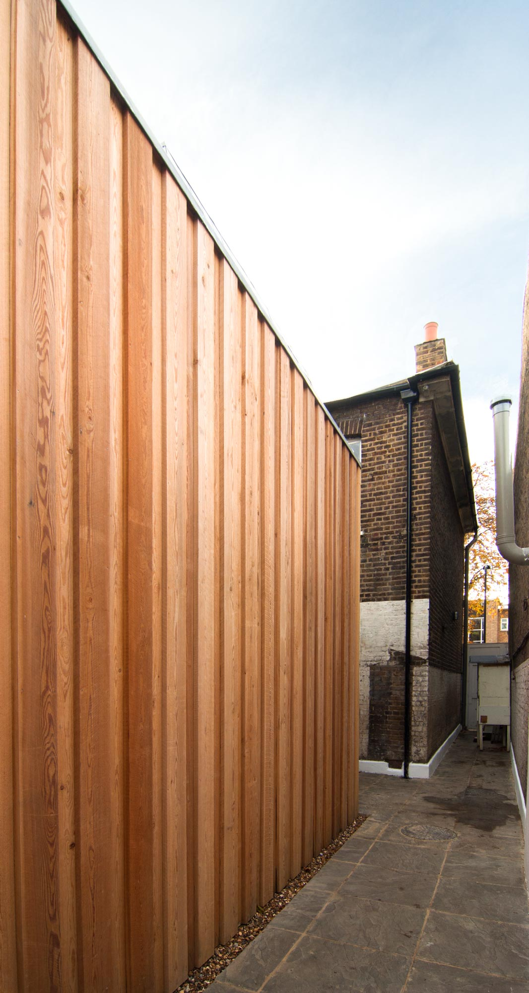 Timber cladding on the side of the rear extension.