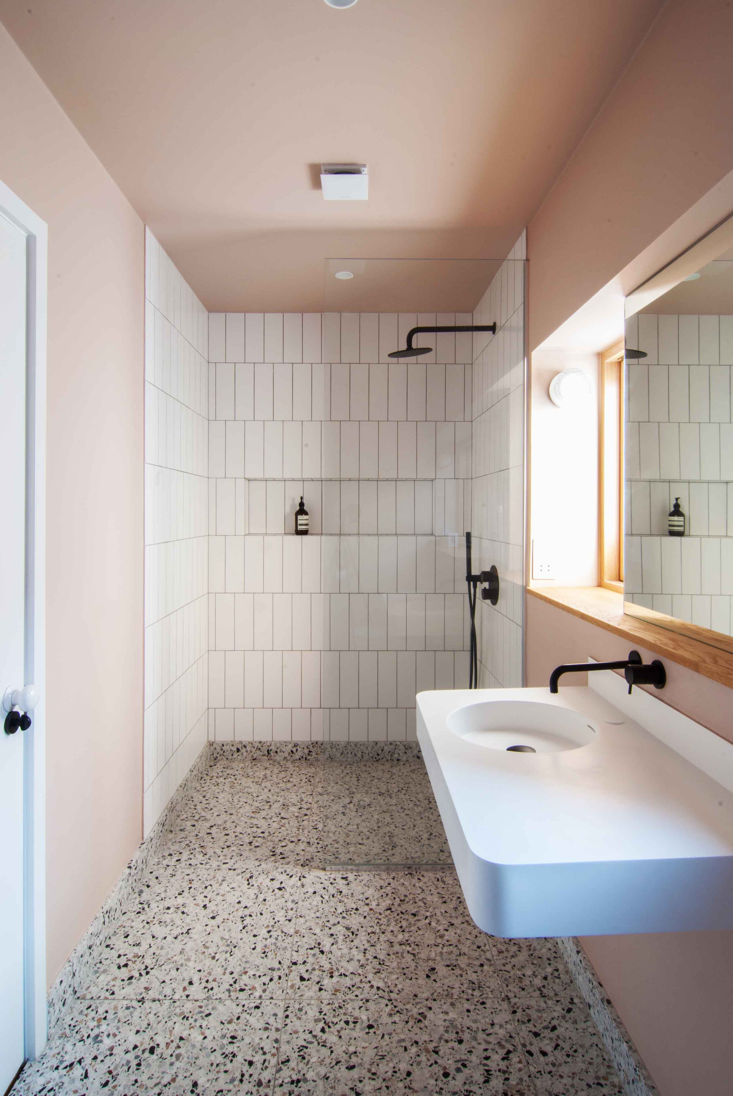 Leytonstone Renovation Pink Bathroom Lusso Oak Terrazzo Blush Shower-Refurbishment