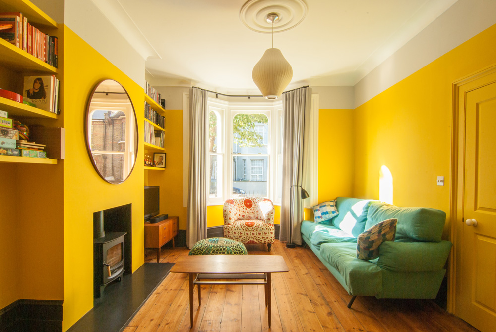 Leytonstone-Renovation-Yellow-Living-Room-Fireplace-Victorian-Terrace-Refurbishment